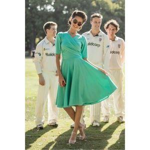Shabby Apple Mint Ponte Wrap Style Circle Dress
